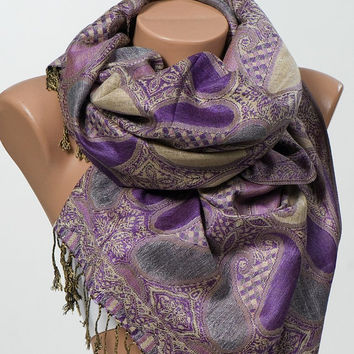 Shop Purple Paisley Scarf On Wanelo