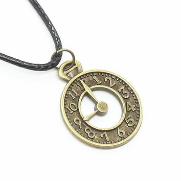 Vintage Alloy Bronze Small Cute Clock Flag Pendant Necklace