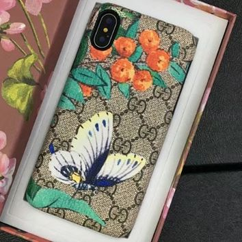 Gucci trend IPhoneX shell leather case with a hard shell to prevent a new wave of men and women Butterfly