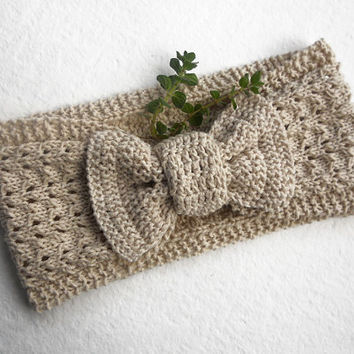 FREE SHIPPING,Knit Lace Headband in Light Beige,Bow Headband,Knit Cotton Headband,Spring Summer Hair Wrap,Wide Turban,Knit Women Accessory