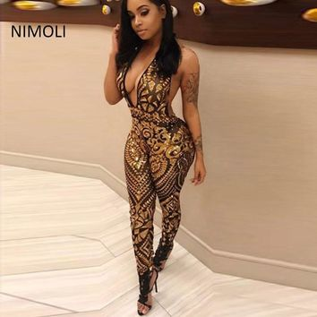 2018 Summer sexy jumpsuit women Bead mesh transparent V-neck tight sequins back jumpsuit Siamese trousers fashion free shipping