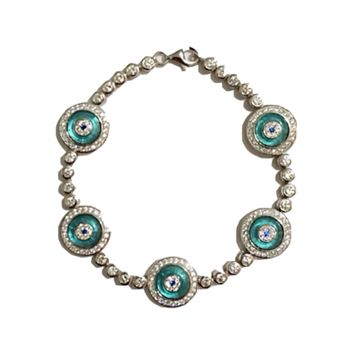 adeline evil eye tennis bracelet light blue