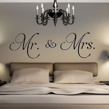 D542 Mr. & Mrs. vinyl wall decal living room decor stickers removable convenient modern wall sticker for bedroom Home Decor
