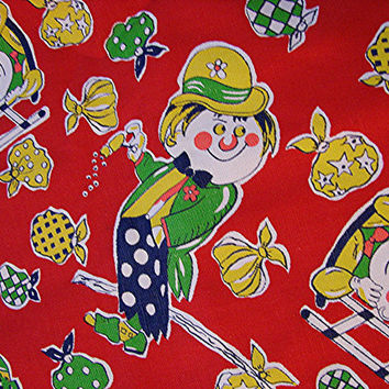 1960s Vintage Fabric Juvenile Novelty Print Cotton Fabric Clowns Hobos Red Green Blue 1-2/3 yards