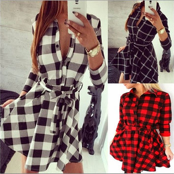 Fantastic Women Autumn Shirt Dress Full Sleeve Grid Print Casual Dress [8042411399]