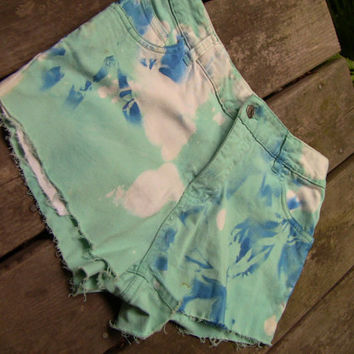 Teal, Tye-dyed, Distressed, High Waisted Jean Shorts (3010)