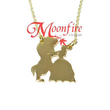 BEAUTY AND THE BEAST Silhouette Pendant Necklace