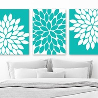 Turquoise Flower WALL ART Canvas or Prints Turquoise Bathroom Decor, Turquoise Bedroom Wall Decor, Turquoise Flower Pictures, Set of 3