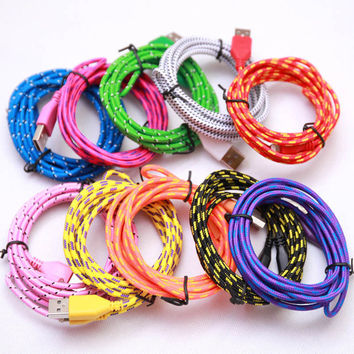 Hot 1M 2M 3M 3/6/10ft Colorful Data Sync Cable Fabric Braided Wire 8pin USB Charger Nylon Woven Cord for iPhone 5s 6S plus 7plus