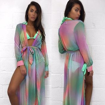 Beach Cover up Rayon Print Swimwear Long Robe