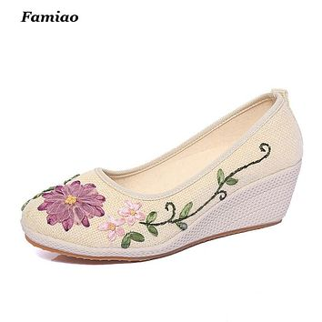 Sapato Feminino National Casual Flowers Ladies Pumps New 2016 Summer Shoes Hemp Slip On Wedges Women Platform Pump WW509