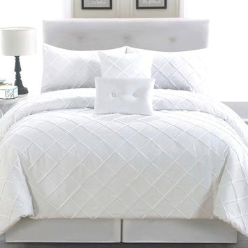 6 Piece Queen Melia White Comforter Set