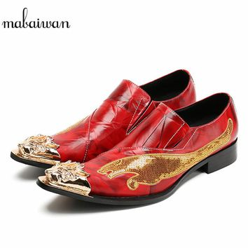 Mabaiwan New Red Men Casual Shoes Dragon Embroidery Leather Wedding Dress Shoes Men Flats Metal Slip On Espadrilles Loafer Shoes