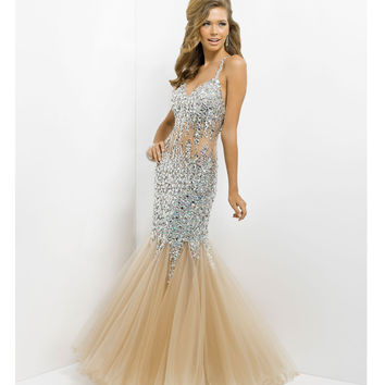 (PRE-ORDER) Blush 2014 Prom Dresses - Nude Sequin Sexy Low Back Prom Dress