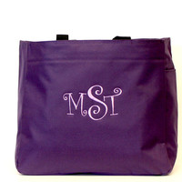Monogrammed Tote Bag Purple Arden Tote Curlz Font Gifts For Any Occassion