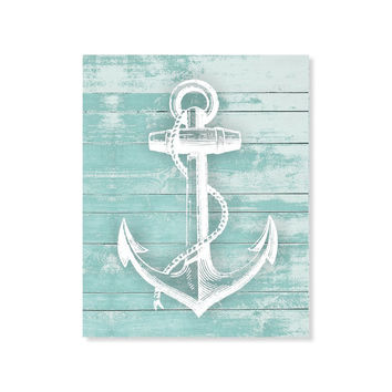 Anchor Print Wood Rustic Art Beach Nautical House Sea Ocean 5x7