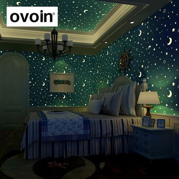 Glow Effect Night Sky Design Star And Moon Luminous Wallpaper Kids Ceiling Decor Fluorescent Wall Paper For Children Bedroom