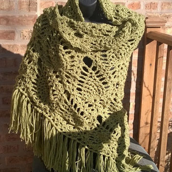 Crocheted Shawl - Shawl in Celery - Bridal Shawl - Prom Shawl - Boho Shawl - Women Accessories