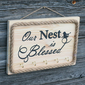 Our Nest is Blessed wooden sign, Key holder with rope, Hand painted Wooden sign, Beach Key rack, Beach Wall decor, Wooden Beach wedding gift