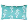Teal Sea Horse Small Pillow