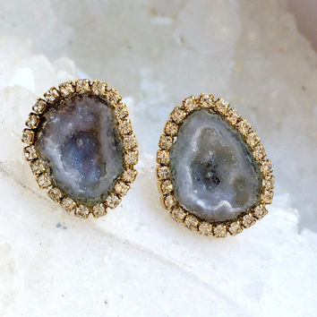 Baby Geode Stud, Tabasco Geode Slice Earring Silvery Grey Geode Druzy Diamond Bezel Look Post Earring Geode Slice Stud Raw Gemstone -Madison