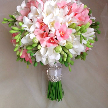 White, pink freesia bouquet with boutonniere. Clay Wedding Bouquet, Freesia bridal bouquet. Hanmade bouquet
