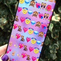 Iphone 4 4S Phone Case Emoji Hearts Faces Print Hipster Phone Cover