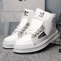 ADIDAS x Supreme Men Leather Fashion High-Top Flats Shoes