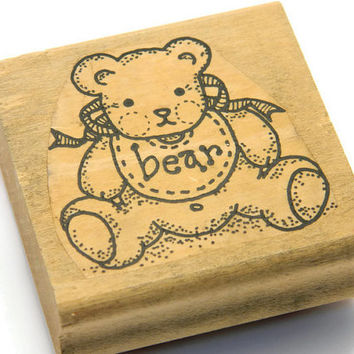 Teddy Bear Stamp - Bear Rubber Stamp - Baby Stamp - Craft Rubber Stamps - DIY Baby Shower - Arts and Crafts - Stationery Supplies