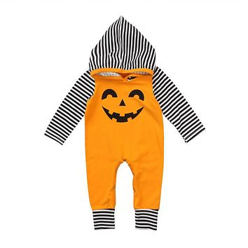 Newborn Baby Boys Girls Halloween Pumpkin Hoodies Infant Warm Winter Clothes Striped Long Sleeve Romper Jumpsuit