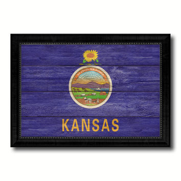 Kansas State Flag Texture Canvas Print with Black Picture Frame Home Decor Man Cave Wall Art Collectible Decoration Artwork Gifts