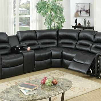 3 pc Collette collection black bonded leather upholstered sectional sofa with nail head trim accents