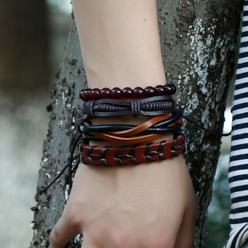 Faux Leather Wrap Bracelet