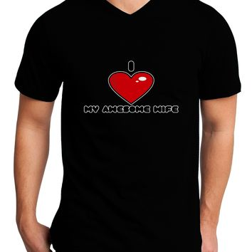 I Heart My Awesome Wife Adult Dark V-Neck T-Shirt by TooLoud