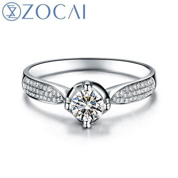 ZOCAI Aphrodite 0.50 CT CERTIFIED H / SI MAIN DIAMOND With 0.30 Ct Side Diamond ENGAGEMENT RING 18K WHITE GOLD W00161