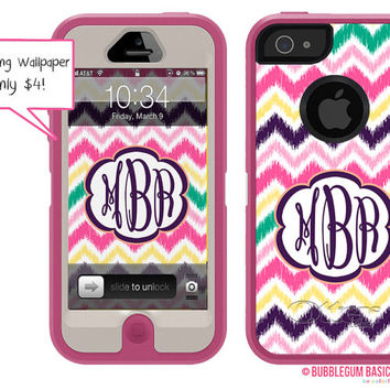 OTTERBOX Defender iPhone 5 5S 5C 4/4S iPod Touch 5G Case Rainbow Ikat Chevron Pink Teal Purple Name Initials Personalized Monogram