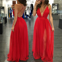 2016 Sexy Women Sleeveless Long Maxi Evening Party Dress Prom Gown Formal Dress