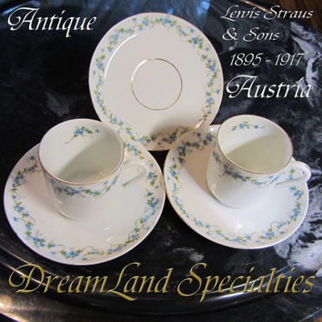 Lewis Straus and Sons Antique Porcelain Signed Demitasse Porcelain Tea Cups & Saucers Set