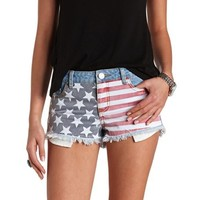 AMERICAN FLAG PRINT CUT-OFF DENIM SHORTS