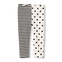 Toddler Girls Dots And Stripe Split-Print Leggings | The Children's Place