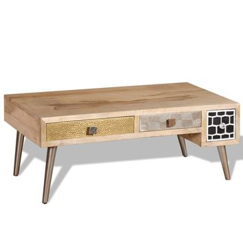 "Coffee Table with Drawers Solid Mango Wood 41.3"" x 21.7"" x 16"""