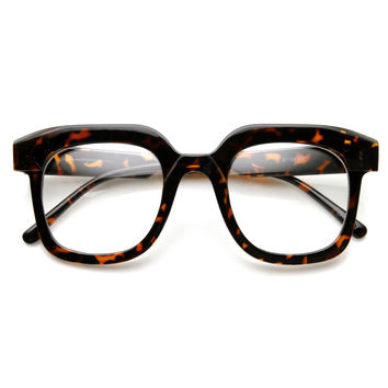 Hipster Indie Retro Bold Thick Nerd Geek Clear Lens Glasses 9305