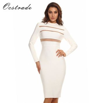 Ocstrade Womens Dresses New Arrival 2017 Sexy Bodycon High Neck Long Sleeve White Mesh Bandage Dress for Women 2017