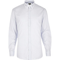 River Island MensWhite houndstooth long sleeve shirt