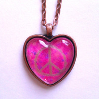 Gold peace sign glass dome heart necklace for tween or teen girl