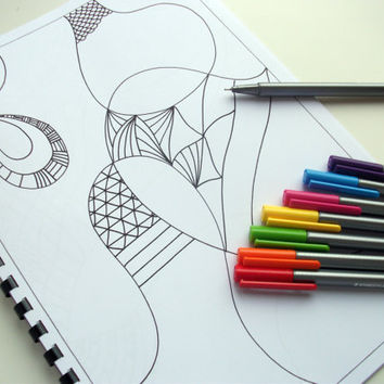 Printable Doodle Coloring Book Zentangle Art Doodles by JoArtyJo