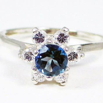 Neptune Garden Topaz Halo Ring Sterling Silver, Rainbow Topaz Ring, Sterling Silver Topaz Ring, Sterling Halo Ring