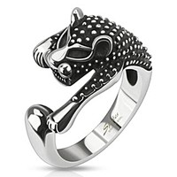 Spikes Stainless Steel Spotted Panther Wrap Ring