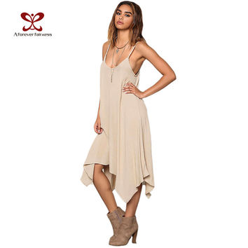 A Forever Summer Dress 20I7 Women Casual Loose Asymmetrical Vestidos Solid Spaghetti Strap Sexy Backless Long Beach Dress 1147