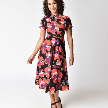 Retro Style Purple Floral Short Sleeve A-line Midi Dress